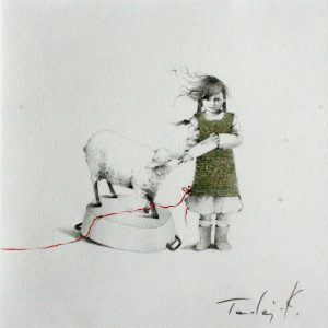 Z owieczka  II rysunek olowkiem i kredka na papierze 20x20 cm 2016_1000