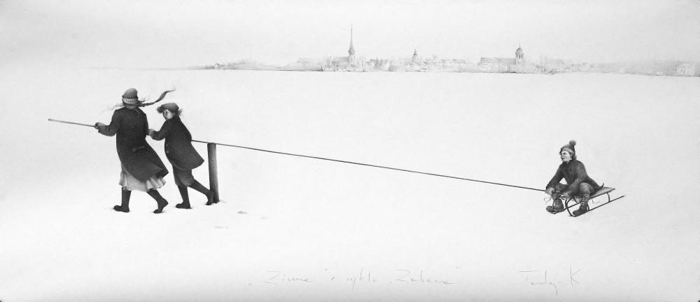 Zima, cyklu zabawa rysunek olowkiem na papierze, 147x66cm2015_1000