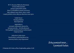 75 rocznica Powstania w Getcie - Żeby pamiętał świat(mat. pras TŻ i FS)