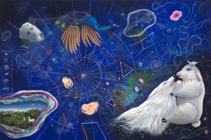 Curylo Julia - Starmap, 2017, olej akryl plotno, 140x210cm [fot Adam Gut]